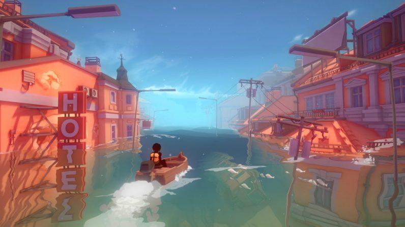Kay fährt mit dem kleinen Boot durch die versunkene Stadt.