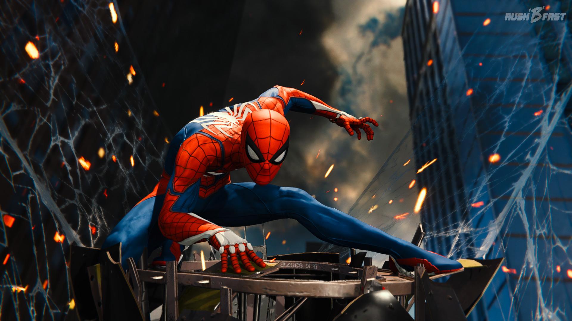 Marvel's Spider-Man - Unsere Netze dienen als Allzweckwaffe und fangen auch herabstürzende Trümmer mit Leichtigkeit ab.