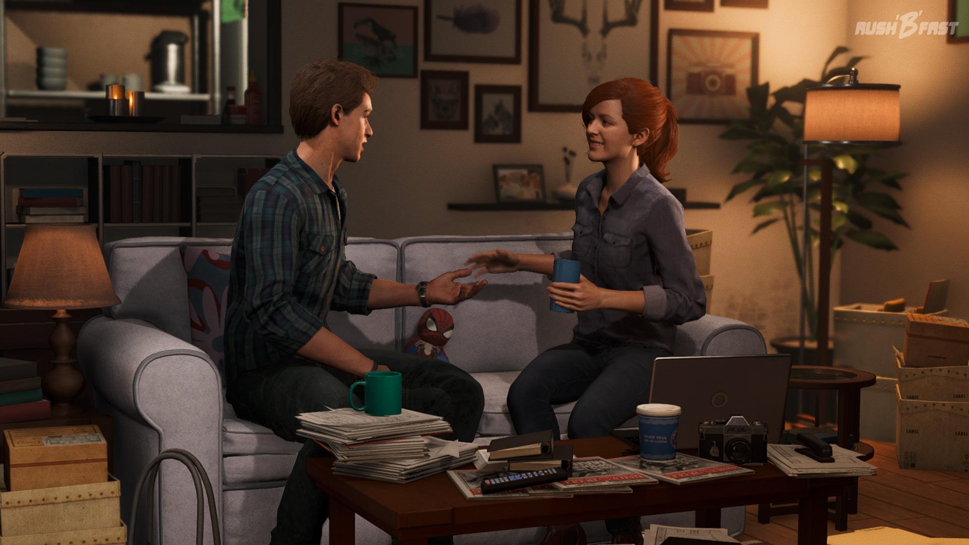 Marvel's Spider-Man - Peter Parker trifft sich mit MJ zum Abendessen in ihrer Wohnung.