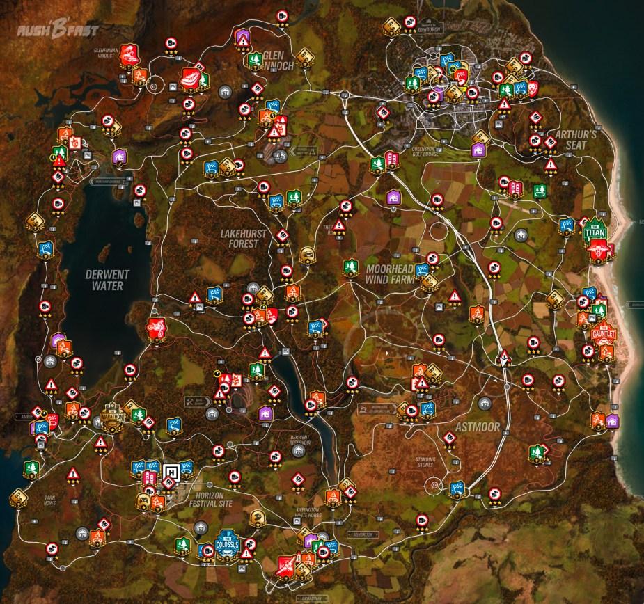 Forza Horizon 4 - Landkarte: Alle Rennen, Schilder, Häuser, Blitzer, Tafeln ...