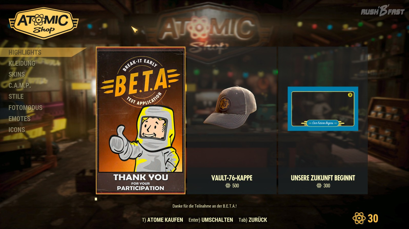 Fallout 76 - Atomic Shop - Mikrotransaktionen
