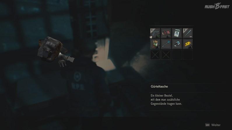 Resident Evil 2 - Gürteltasche sorgt für zwei weitere Inventarplätze.