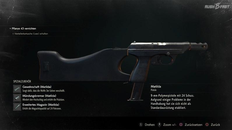 Resident Evil 2 - Komplett ausgebaute Pistole (Matilda) - Die Waffenerweiterungen sind gut versteckte Boni, die für deutlich mehr Schaden, Präzision und Kapazität sorgen.