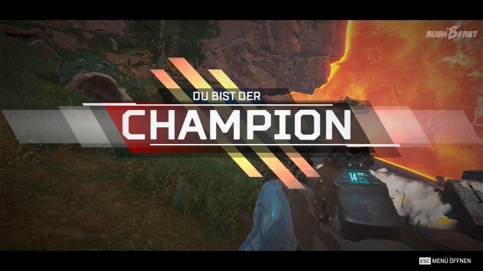 """So sehen Sieger aus! Nach einer erfolgreichen Schlacht mit dem eigenen Squad erscheint der Schriftzug """"DU BIST DER CHAMPION""""."""