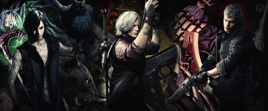 Devil May Cry 5: V (links), Dante (mitte), Nero (rechts). Diese drei Dämonenjäger spielen wir in DMC 5.
