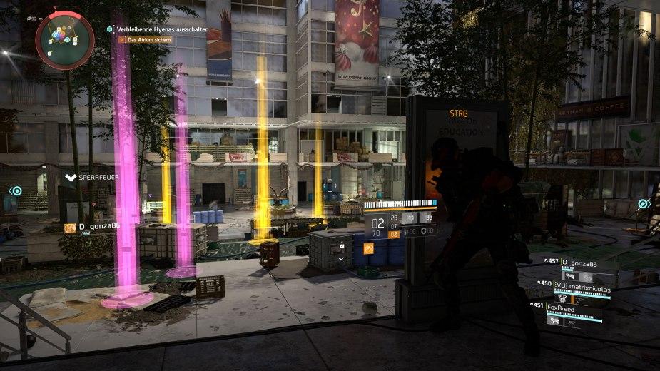 Tom Clancy's The Division 2 - In dieser herausfordernden Mission ging es ordentlich zur Sache, was man an den vielen Lichtsäulen voller Loot erkennen kann.