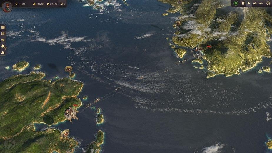 Anno 1800 - Auf der Weltkarte können wir schnell zwischen alter und neuer Welt hin und her wechseln. Am oberen Bildschirmrand kann man schon ein wenig von der kommenden Arktis-Erweiterung erkennen.