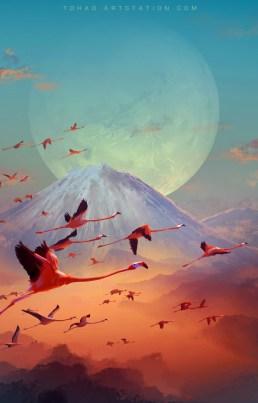 Quelle: tohad.artstation.com - Sylvain Sarrailh - flamingo