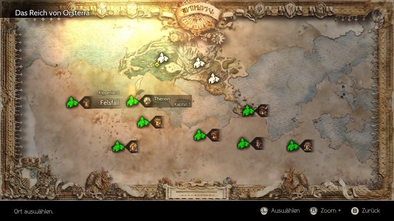 So sieht die Landkarte von Orsterra zu Spielbeginn aus. Alle Hauptprotagonisten befinden sich noch in ihrem Anfangsgebiet.