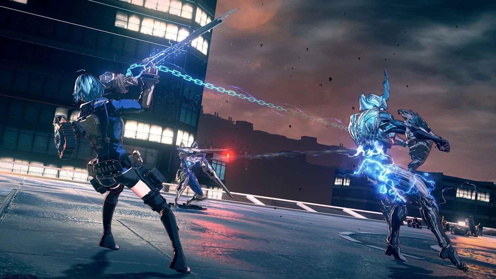 Quelle: PlatinumGames - ASTRAL CHAIN - Umschlingen wir den Gegner mit der Kette, wird er bewegungsunfähig.