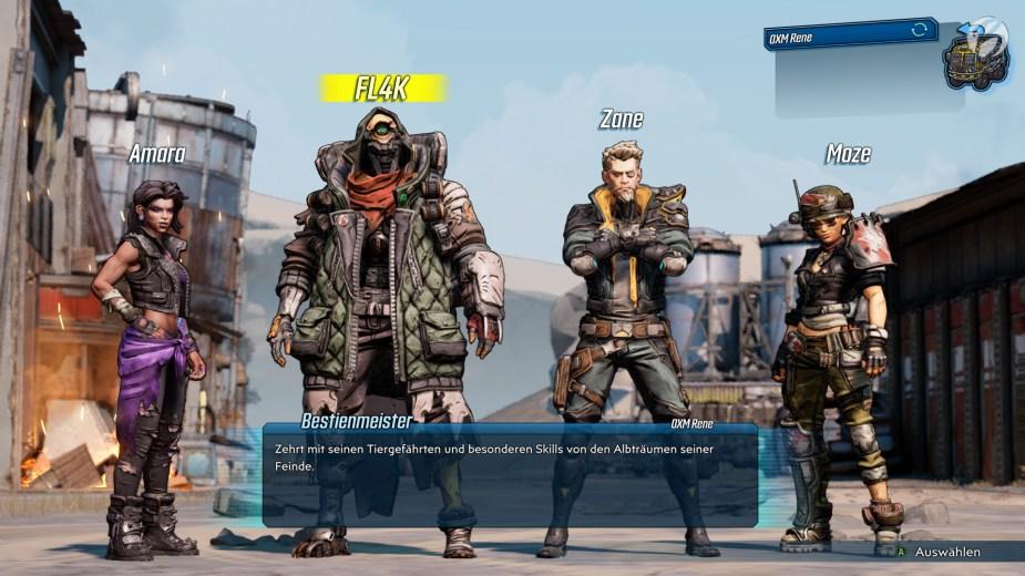 Charakterauswahl: In Borderlands 3 ist für jeden Geschmack etwas dabei.