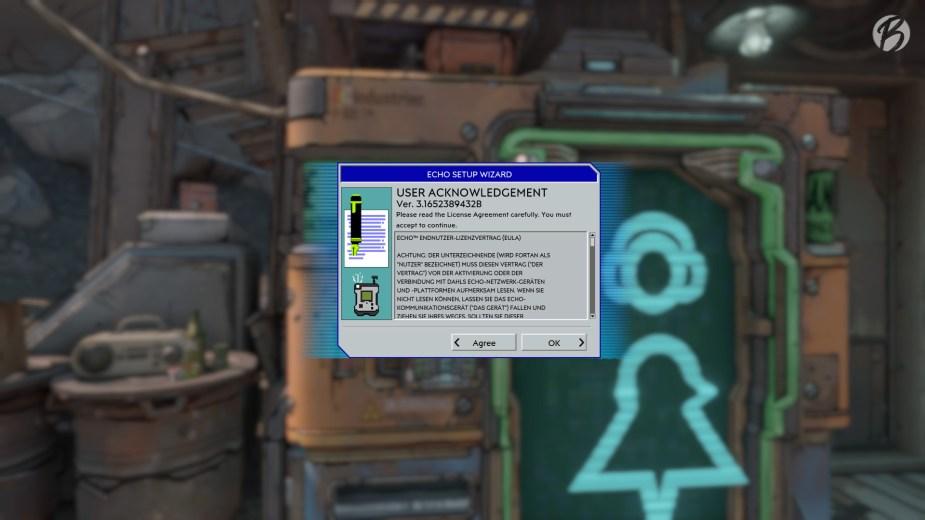Borderlands 3 - Das Echo-Modul (HUD) wird stilecht mit dem Echo Setup Wizard in Windows 95 Optik installiert.
