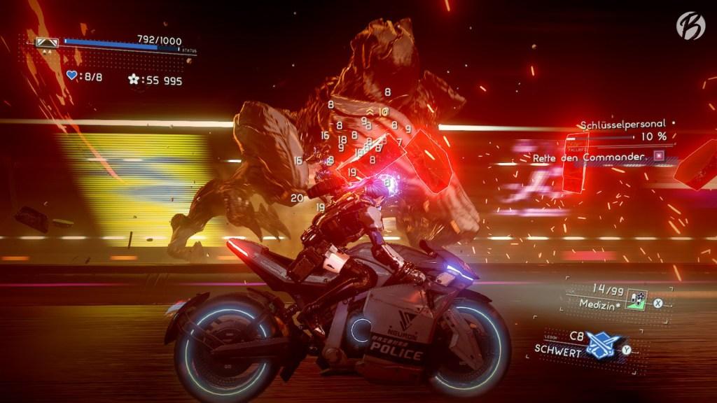 Vorsicht Abwechslung! In Astral Chain wird der Ausritt mit dem futuristischen Motorrad zum Sidescroller.