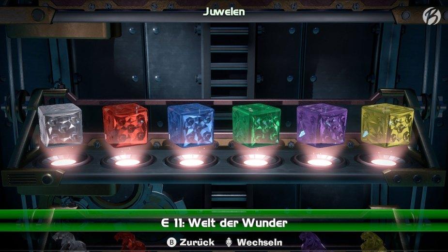 Luigi's Mansion 3 - Auf jeder Etage sind jeweils sechs Juwelen gut versteckt. Mit dem Juwelen-Finder können wir sehen in welchem Raum sich ein Juwel befindet.