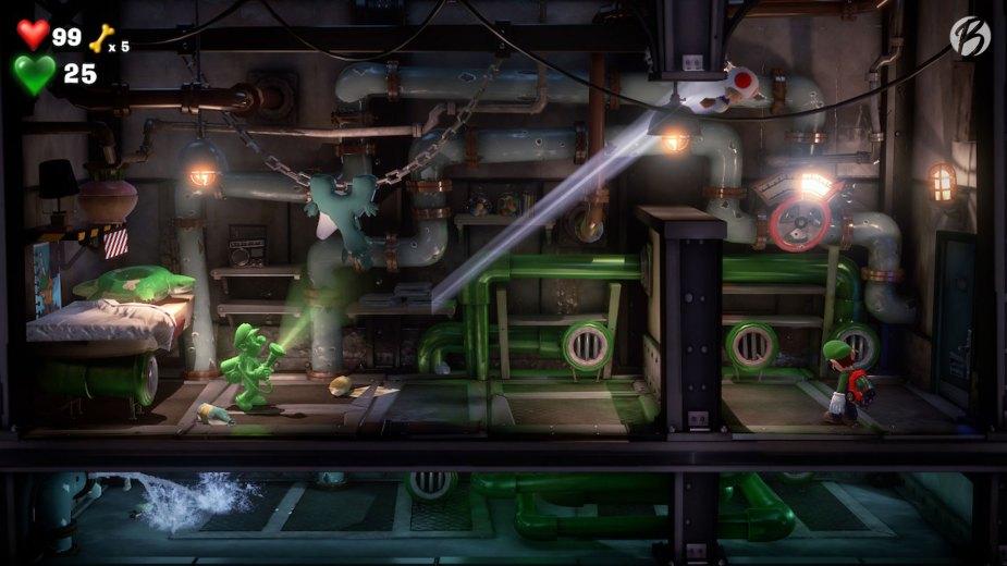 Luigi's Mansion 3 - Hier müssen wir Fluigi durch ein Röhrenwirrwarr schicken, um auf die andere Seite des Raumes zu kommen.
