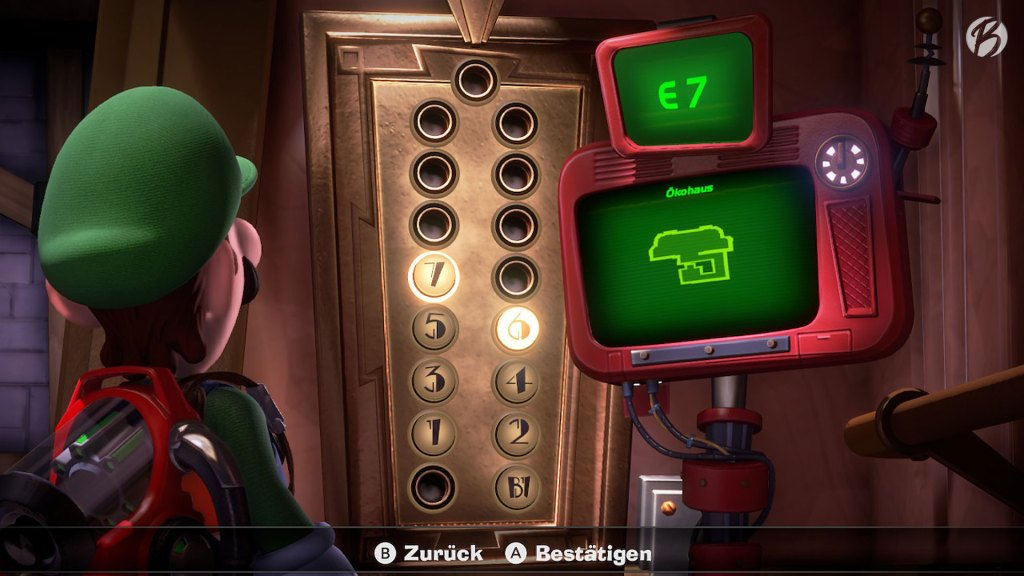 Luigi's Mansion 3 - Mit (fast) jeder erfolgreich abgeschlossenen Etage bekommen wir einen weiteren Aufzugknopf.