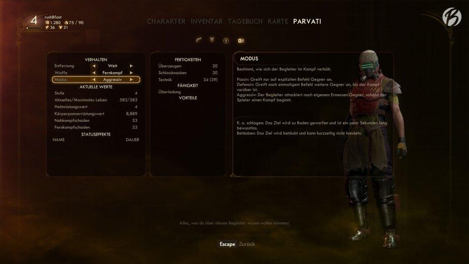 The Outer Worlds - Schönes Detail: Jeder Spieler kann selbst entscheiden, wie sich die mitgeführten Gruppenmitglieder im Kampf verhalten sollen.