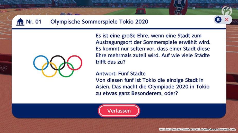 Mario & Sonic bei den Olympischen Spielen: Tokyo 2020 - Frage Nr. 01