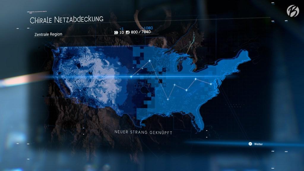 Death Stranding - Einen neuen Strang knüpfen wir, sobald eine weitere Stadt oder eine Siedlung an das chirale Netzwerk angeschlossen wird.