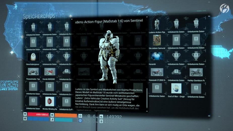 Death Stranding - Das Team von Kojima Productions hat überall Speicherchips versteckt. Sobald wir diese in das chirale Netzwerk einspeisen, bekommen wir allerhand Hintergrundinformationen.