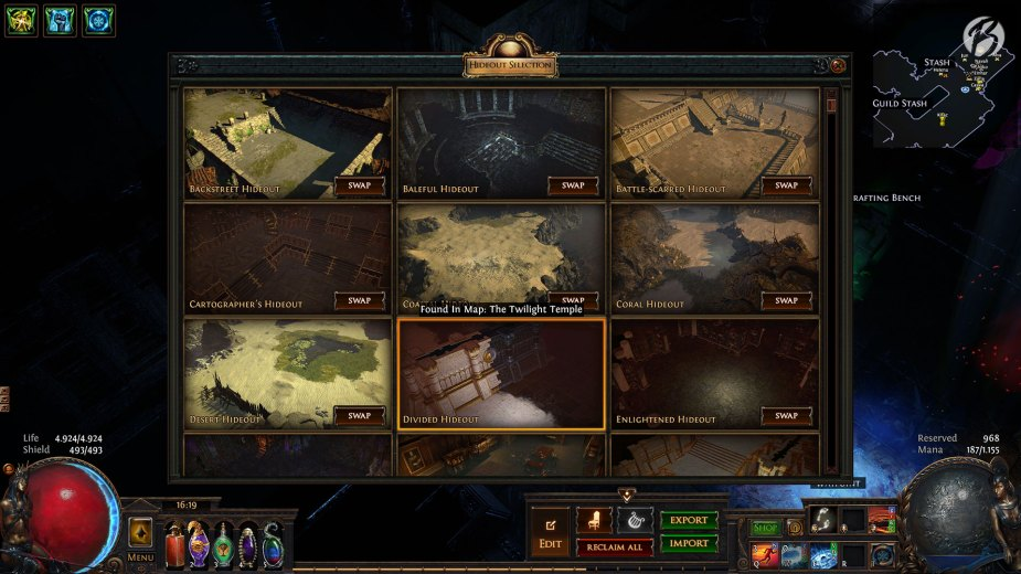 Path of Exile - Hideout Auswahl