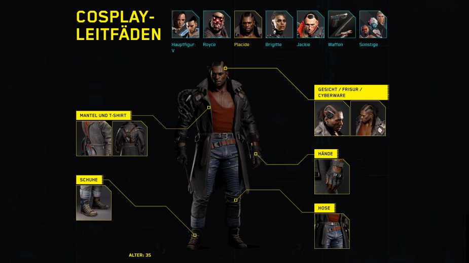 Quelle: CD Projekt RED - Cyberpunk 2077 - Cosplay Guide: Placide
