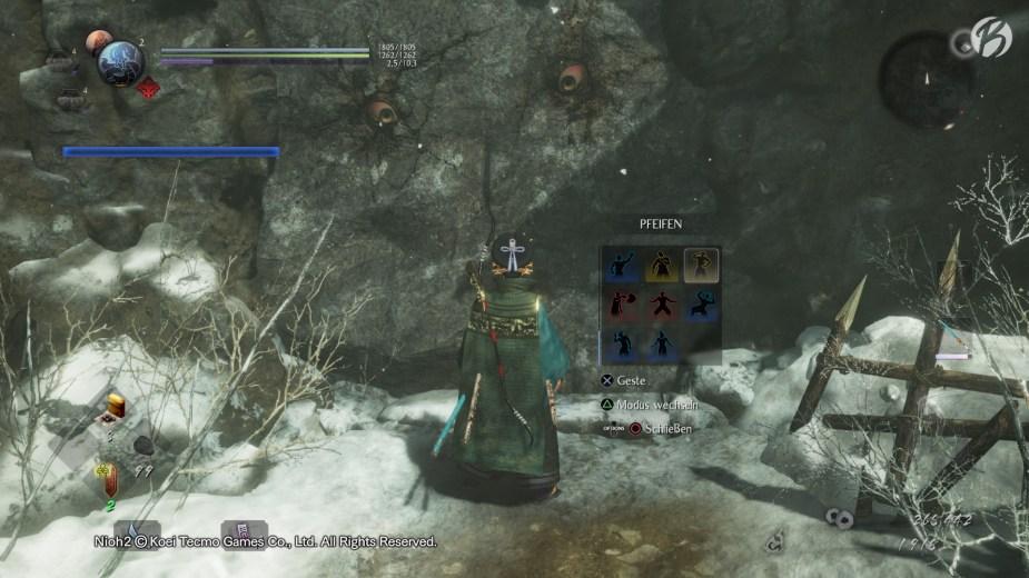 Nioh 2 - Der »Nurikabe« Dämon versperrt den Weg. Mit dem richtigen Trick lässt er einen kampflos passieren.