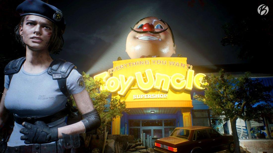 Resident Evil 3 - Jill verletzt vor dem Toy Uncle Supershop