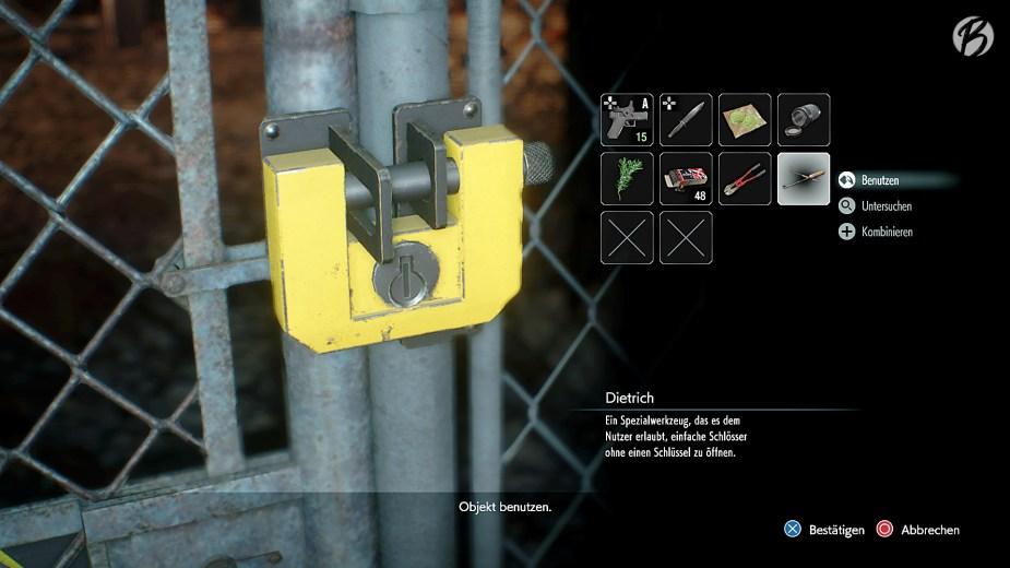 RESIDENT EVIL 3 (Remake) - Mit dem Dietrich lassen sich alle gelben Schlösser knacken.