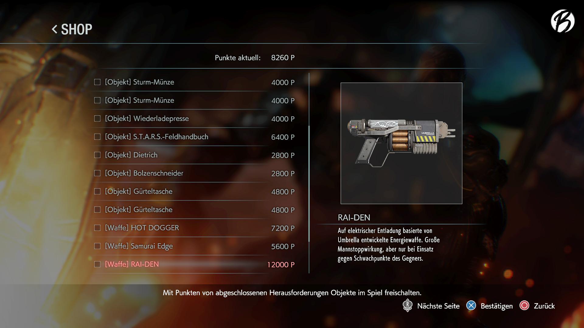 Resident Evil 3 - Freischaltbare Waffe RAIDEN. Der Name und die Blitze erinnern an den Wrestler aus der SNK Serie.