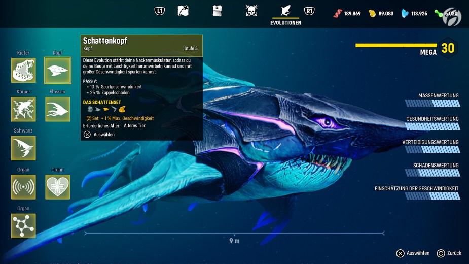 Maneater - Je nach Anforderung können wir unseren Hai modifizieren.