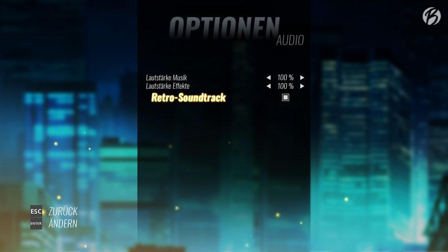 Streets of Rage 4 - In den Optionen lässt sich der Soundtrack auch als Retro-Soundtrack umstellen.