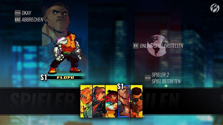 Streets of Rage 4 - Zu Spielbeginn stehen die ersten 4 Spielfiguren zur Auswahl. Adam (ganz rechts) kommt erst im weiteren Spielverlauf hinzu.