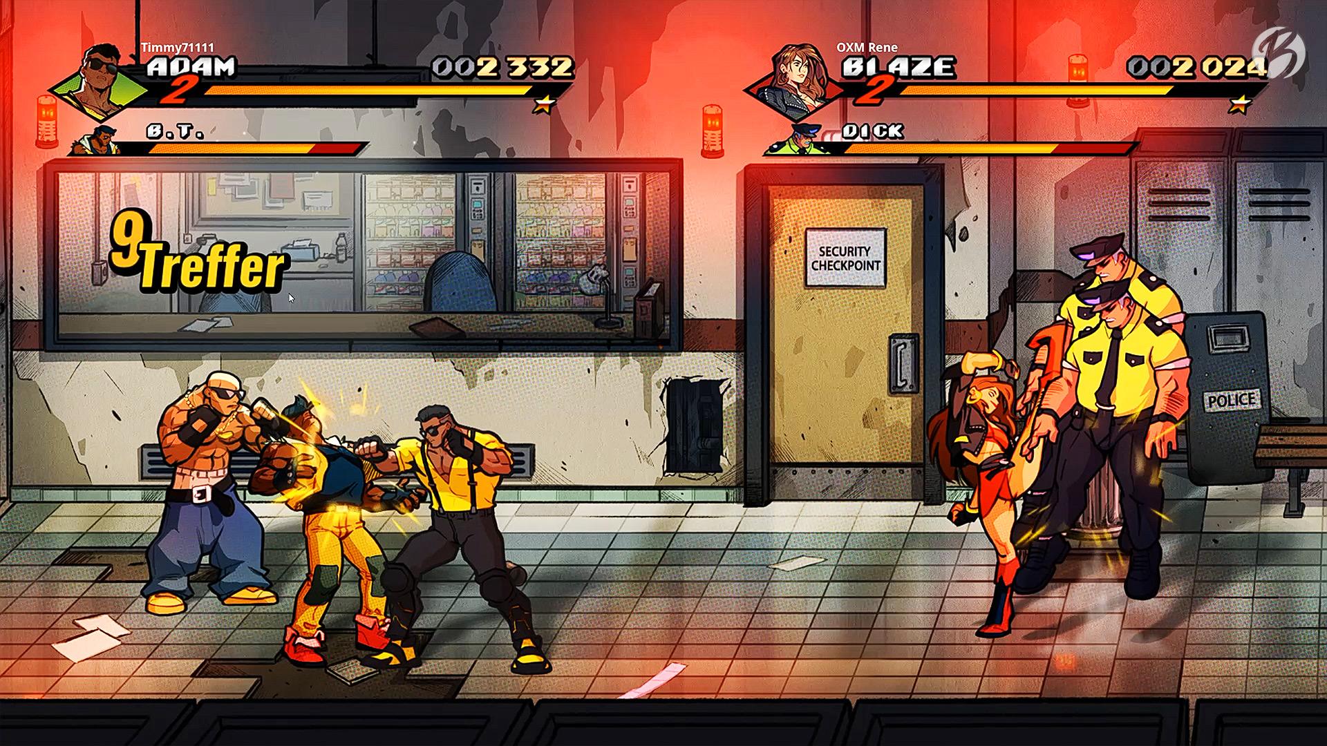 Streets of Rage 4 - Im Koop-Modus ist vieles einfacher, doch Vorsicht vor den Schlägen der Verbündeten.