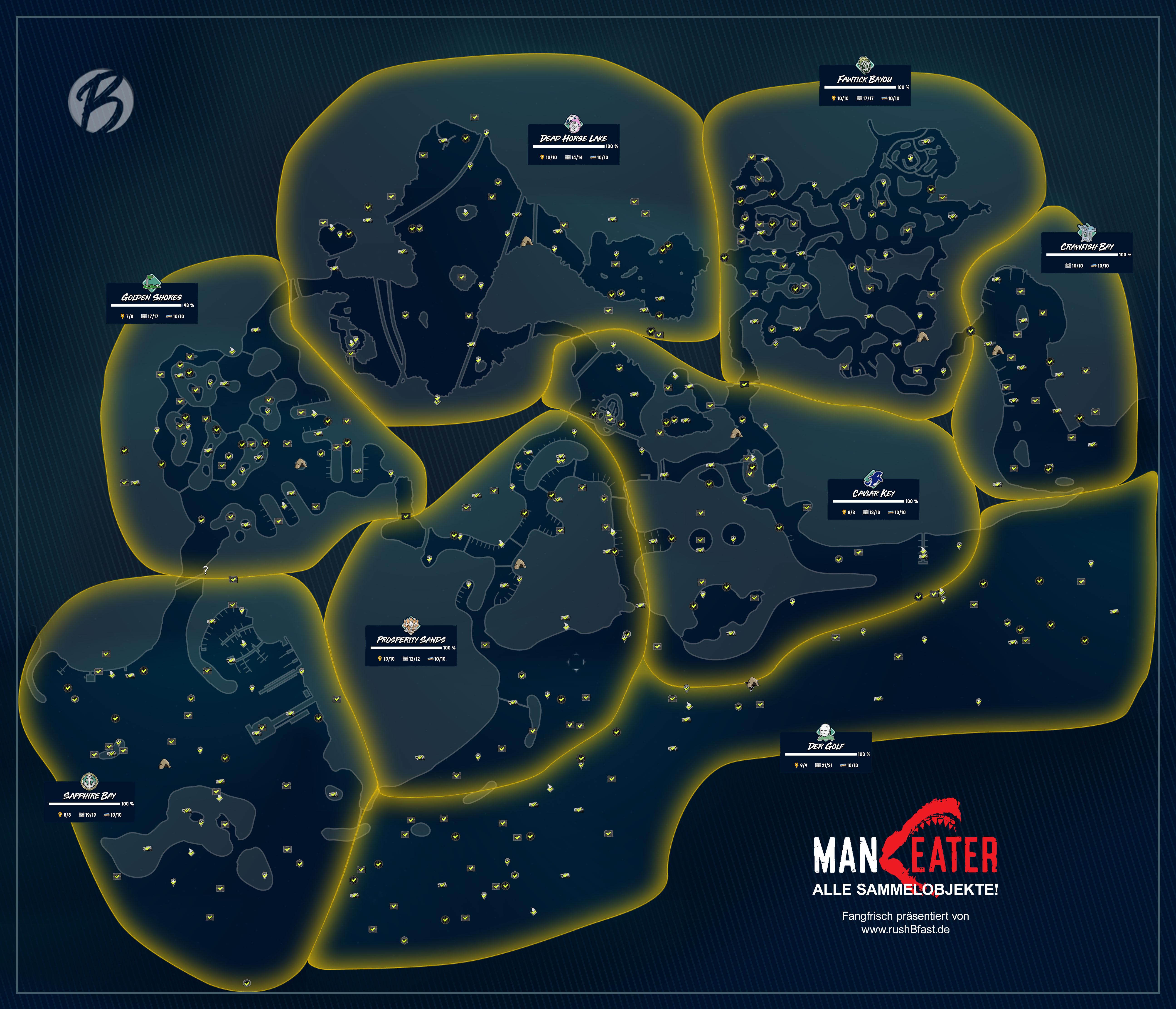 Maneater - Auf dieser Karte findet ihr alle Sammelobjekte.