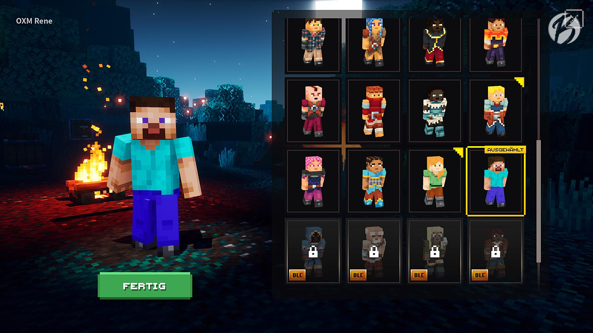Minecraft Dungeons - Die Charakterauswahl besteht aus vorgefertigten Figuren.