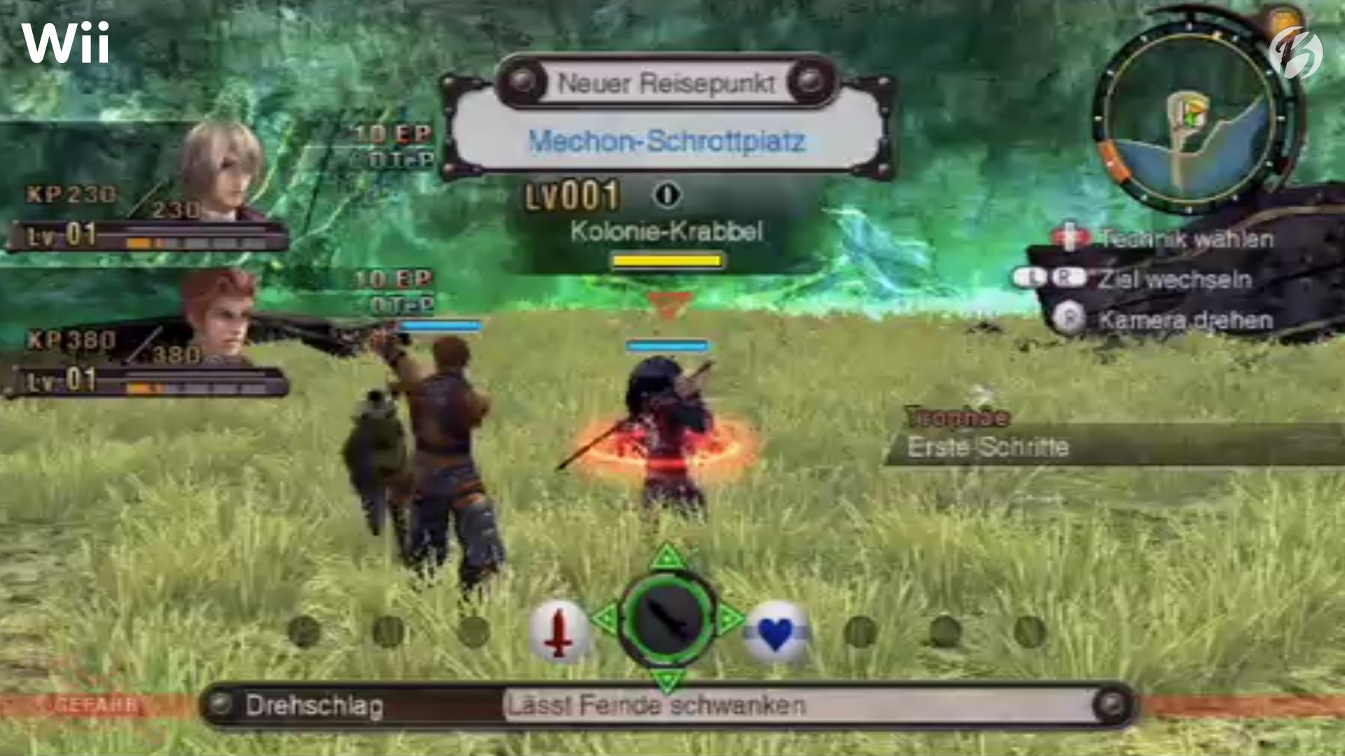 Xenoblade Chronicles (Wii) - Erster Kampf im Startgebiet.