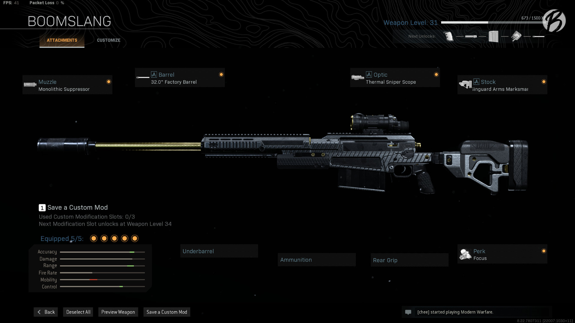 "AX-50: Monolithic Supressor, 32.0"" Factory Barrel, Thermal Sniper Scope, Singuard Arms Marksman, Focus"
