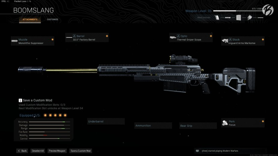 "AX-50: Monolith Supressor, 32.0"" Factory Barrel, Thermal Sniper Scope, Singuard Arms Marksman, Focus"