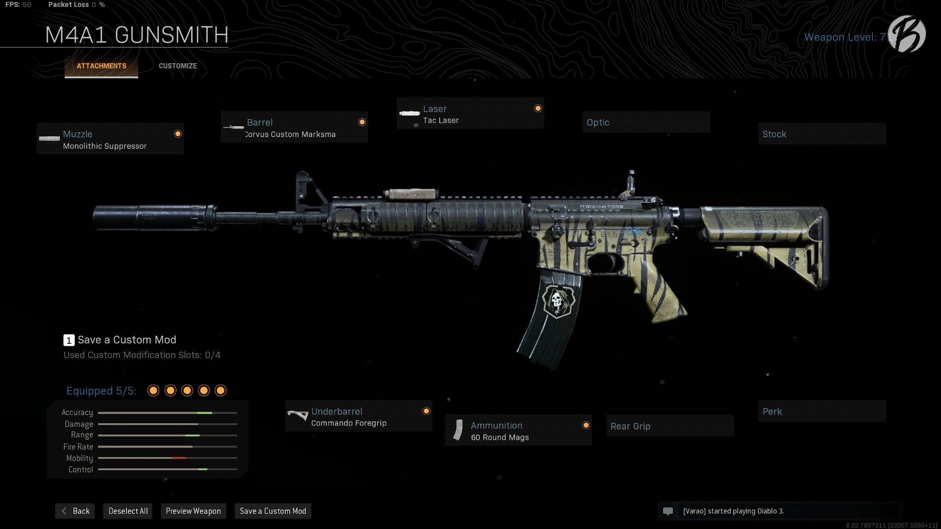 M4A1: Monolithic Suppressor, Corvus Custom Marksman, Tac Laser, Commando Foregrip, 60 Round Magazin