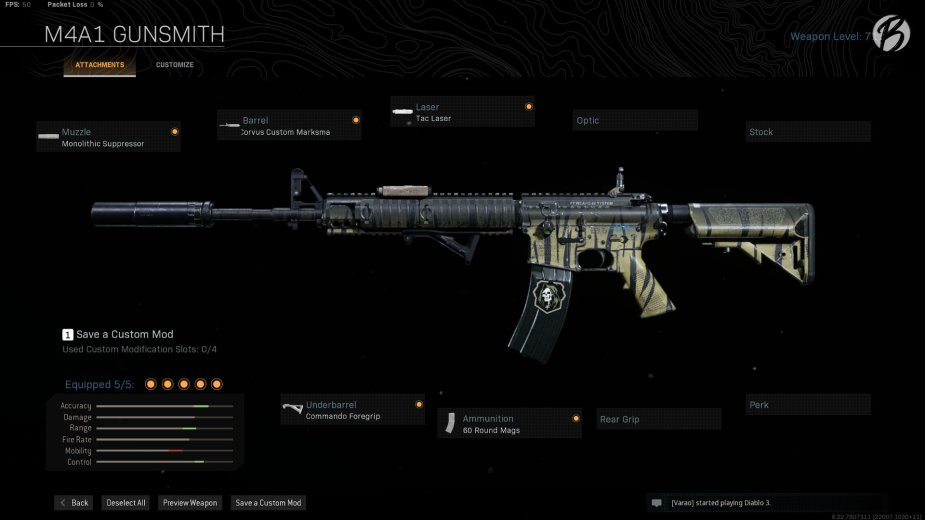 M4A1: Monolith Suppressor, Corvus Custom Marksman, Tac Laser, Commando Foregrip, 60 Round Magazin