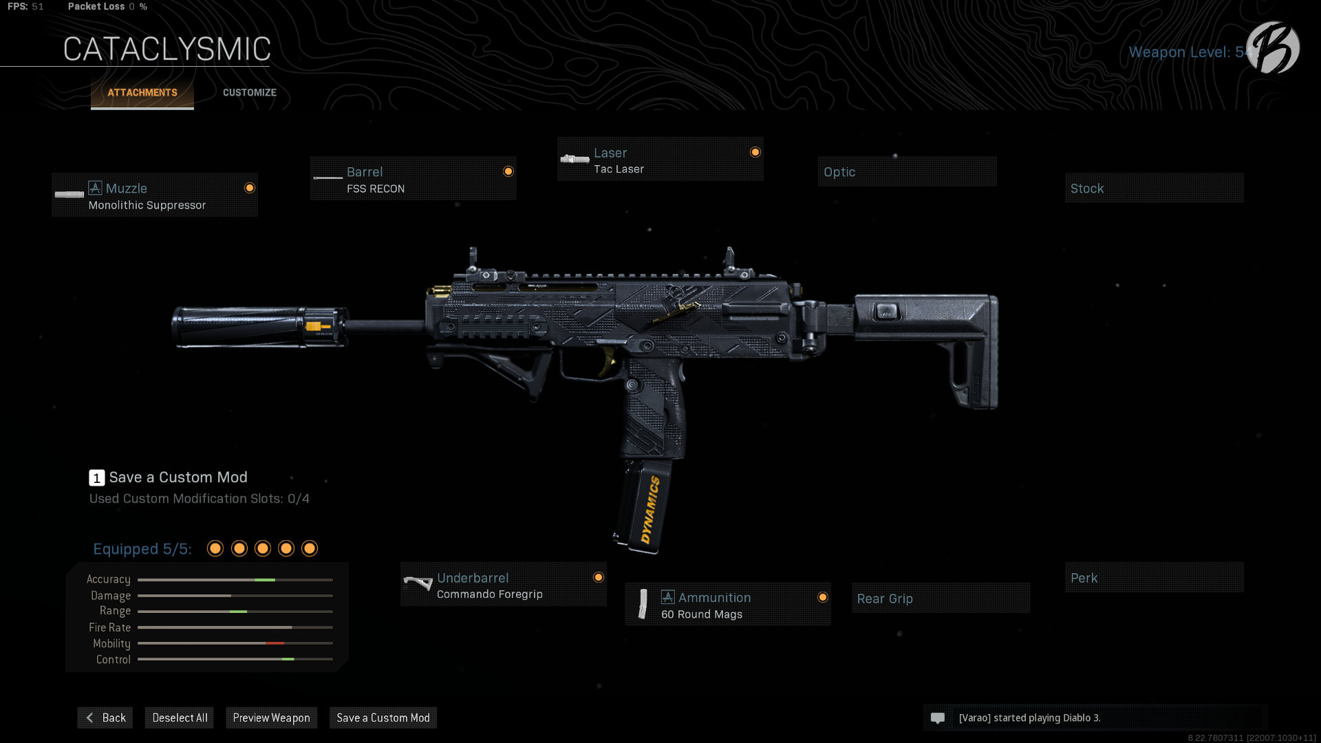 MP7: Monolithic Integral Suppressor, FSS Recon, Tac Laser, Commando Foregrip, 60 Round Magazin