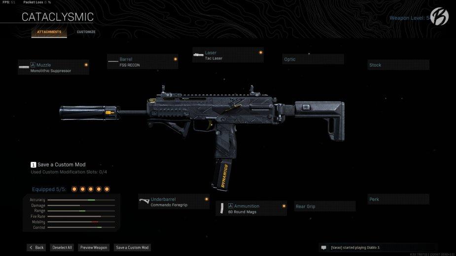 MP7: Monolith Integral Suppressor, FSS Recon, Tac Laser, Commando Foregrip, 60 Round Magazin