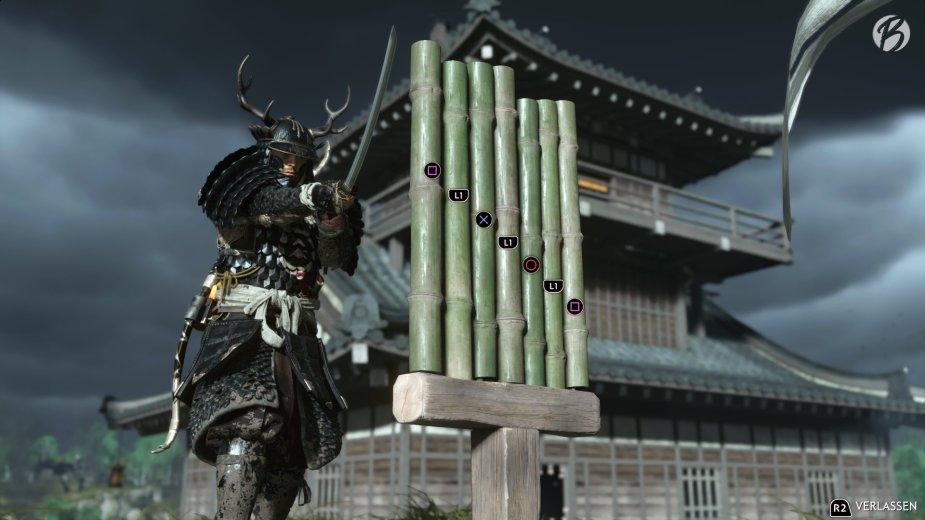 Ghost of Tsushima - Das Baumbusstand-Minispiel erfordert sehr viel Geschick. TIPP: Kann in den Spieloptionen leichter eingestellt werden.