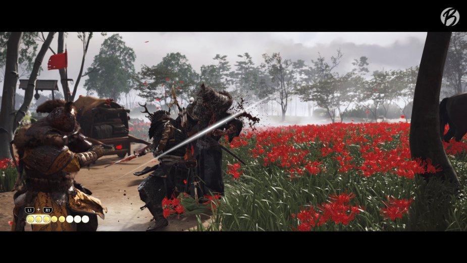 Ghost of Tsushima - Wenn wir Gegner herausfordern, beginnt ein Reaktions-Minispiel, das einem Duell im Wilden Westen gleicht.