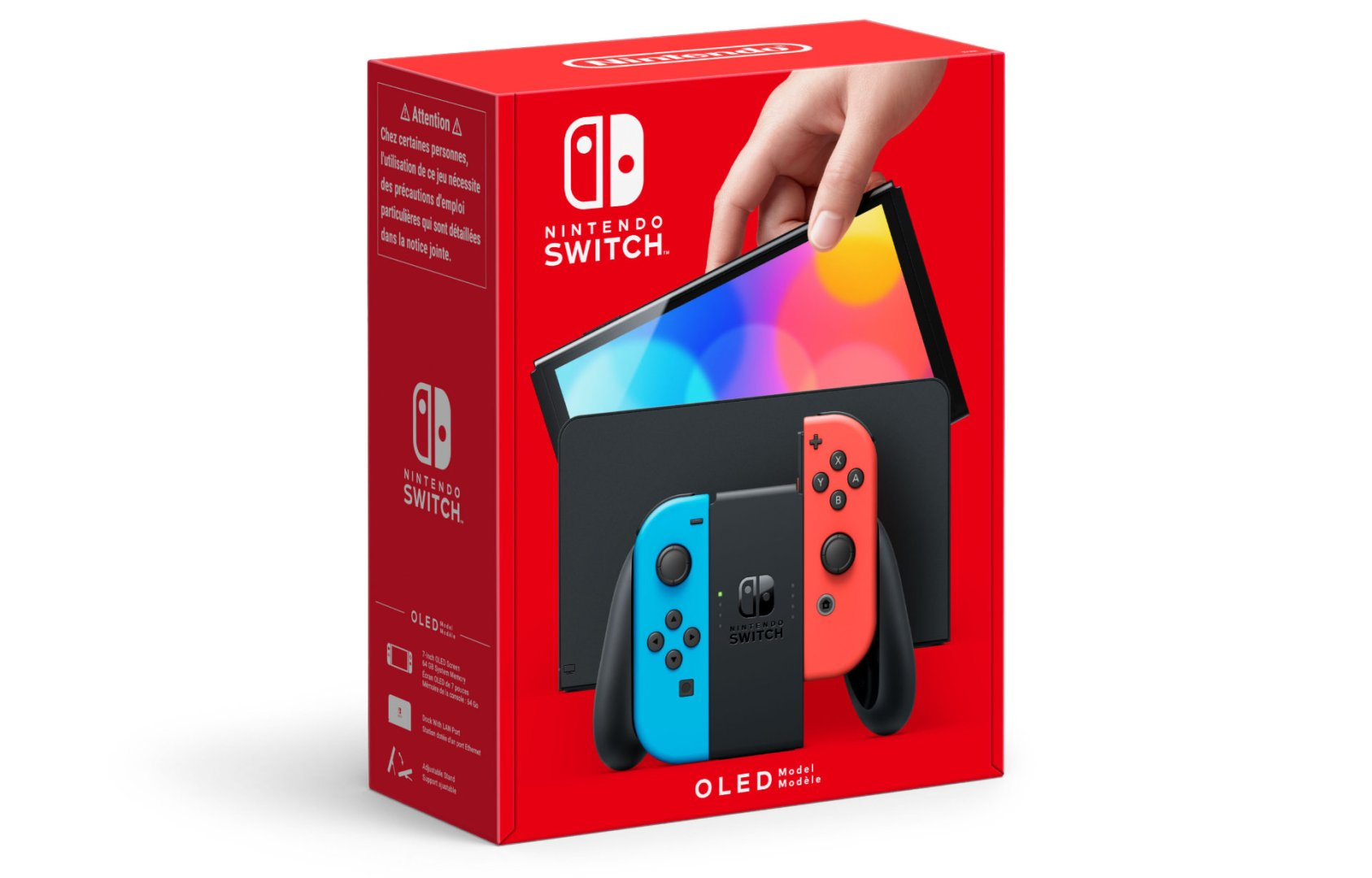Quelle: Nintendo - Nintendo Switch (OLED-Modell) – Neon-Rot/Neon-Blau: Diese Version beinhaltet einen neonroten und einen neonblauen Joy-Con, eine schwarze Konsole und eine schwarze Station.