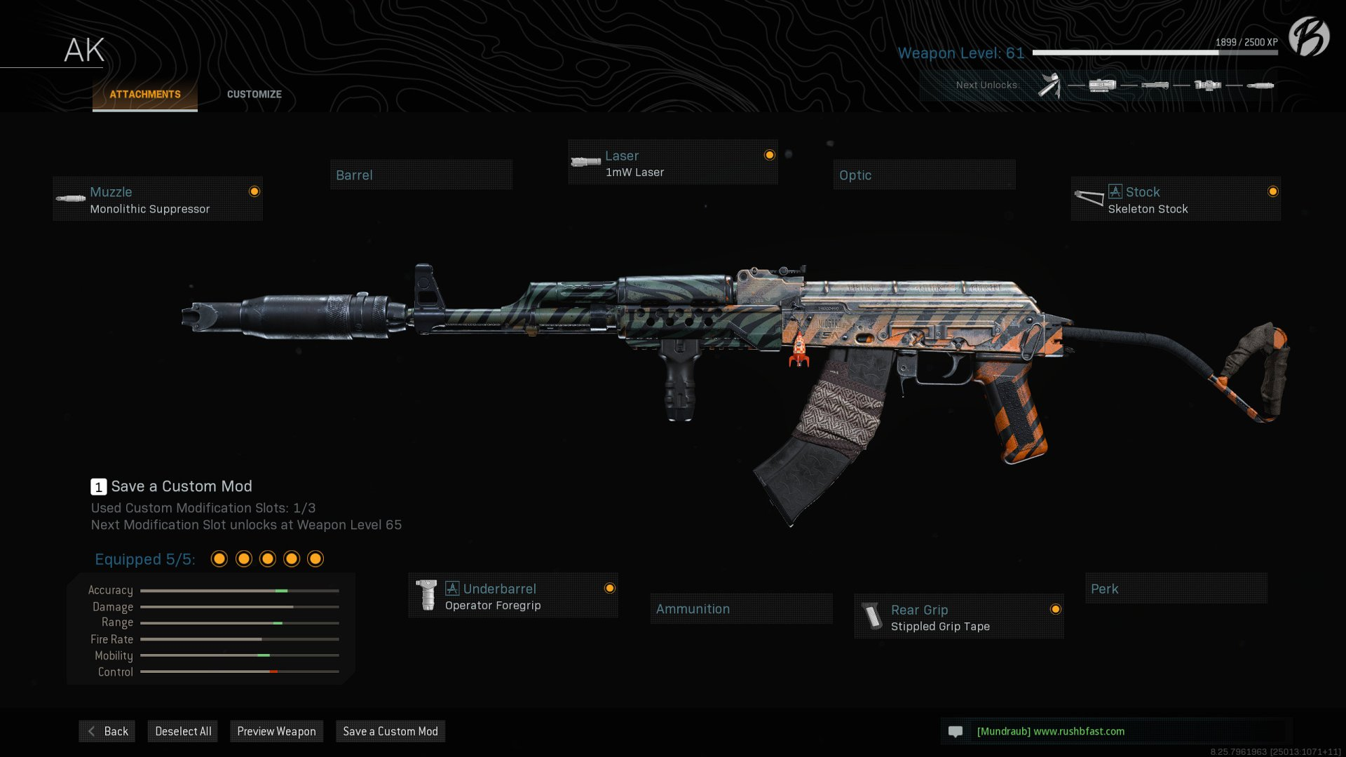 AK-47: Monolithic Suppressor, Operator Foregrip, 1mW Laser, Stippled Grip Tape, Skeleton Stock