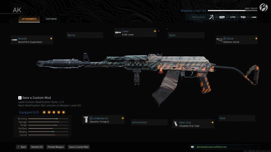 AK-47: Monolithic Suppressor, Operator Foregrip, 1mW Laser, Stippled Grip Tape, Skeleton Stock