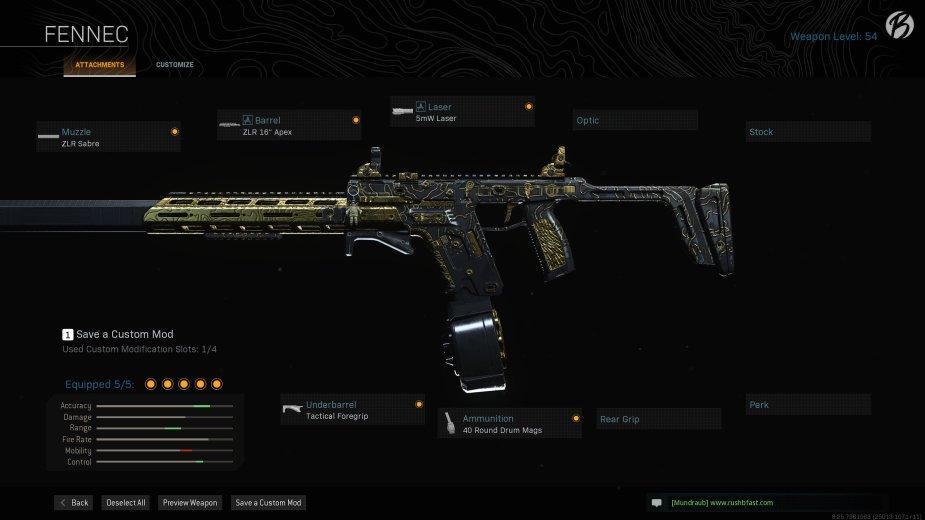 """Fennec: ZLR Sabre, ZLR 16"""" Apex, 5mW Laser, Tactical Foregrip, 40 Round Drum Mags"""