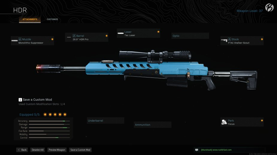 """HDR: Monolithic Suppressor, 26.9"""" HDR Pro, Tac Laser, FTAC Stalker-Scout, Focus"""